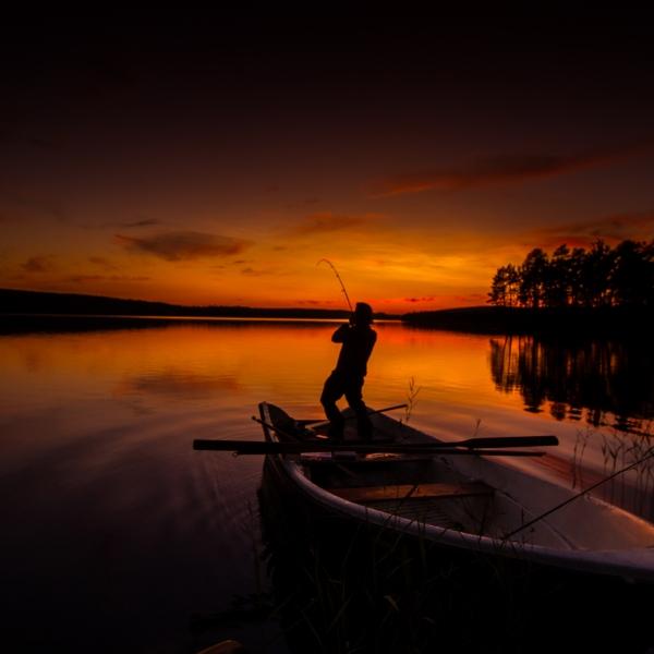 voyage de pêche en Laponie, barque sur un coucher de soleil