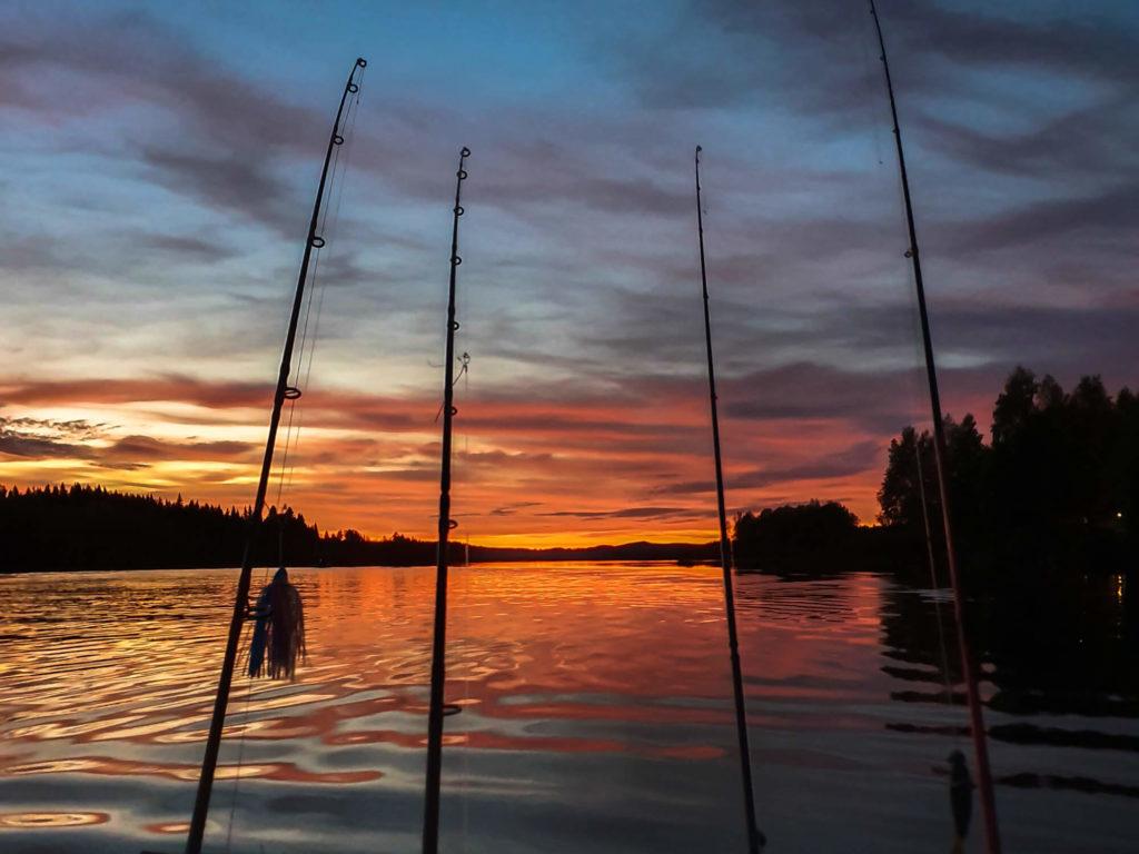 Pêcher au coucher du soleil en Laponie Suédoise