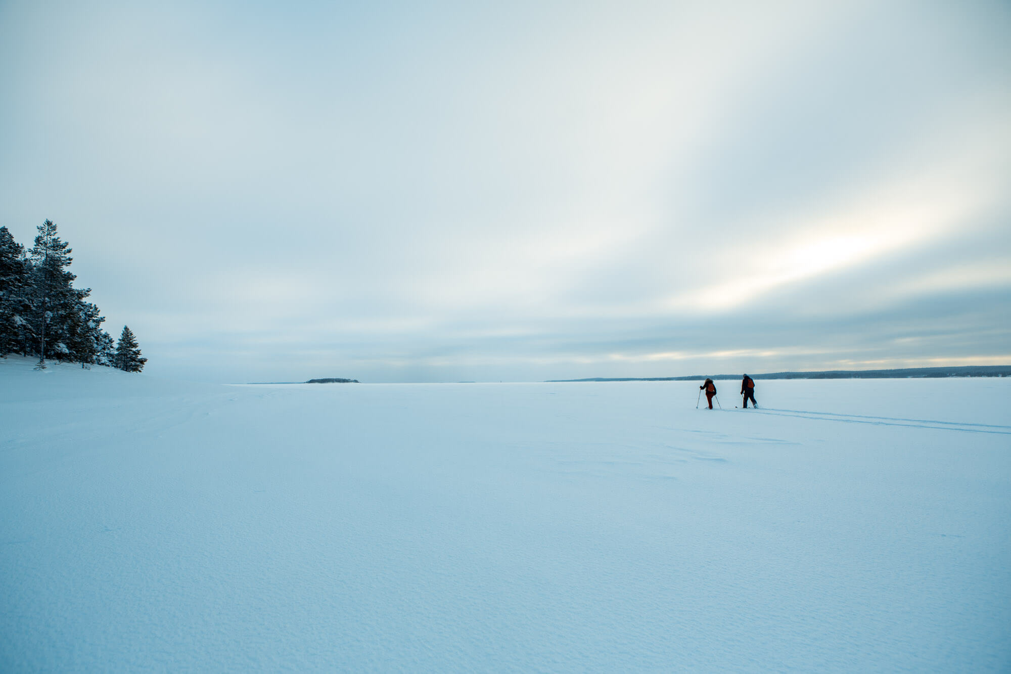 Skiing on the ice in Swedish Lapland