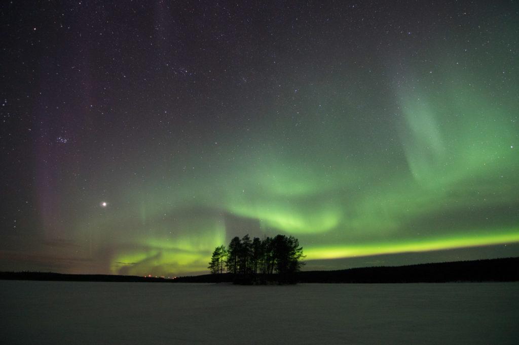 Aurores boréales au dessus d'une ile du lac Gistrask en Laponie Suédoise