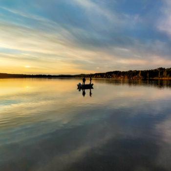 Coucher du soleil sur la Skellefteäven en laponie suédoise